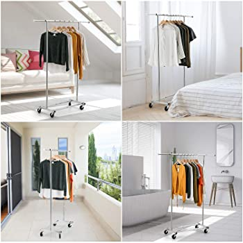 Auledio Clothes Rack Multi-Function Garment Rack, Heavy Duty Commercial Grade Clothes Rolling Rack on Wheels with Exp...