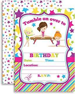 Gymnastics Birthday Party Invitations for Girls, 20 5
