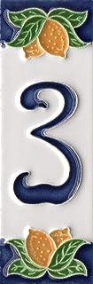 Huisnummers, Italiaanse keramische cijfers & letters tegels, citroen ontwerp, tegel grootte: 10cm x 3.5cm (nummer 3)