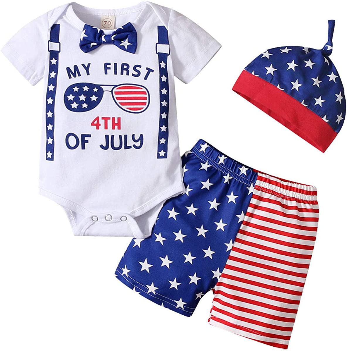 My First 4th Ranking TOP17 of July Outfit Baby Romper Flag American Boy Shorts SALENEW very popular
