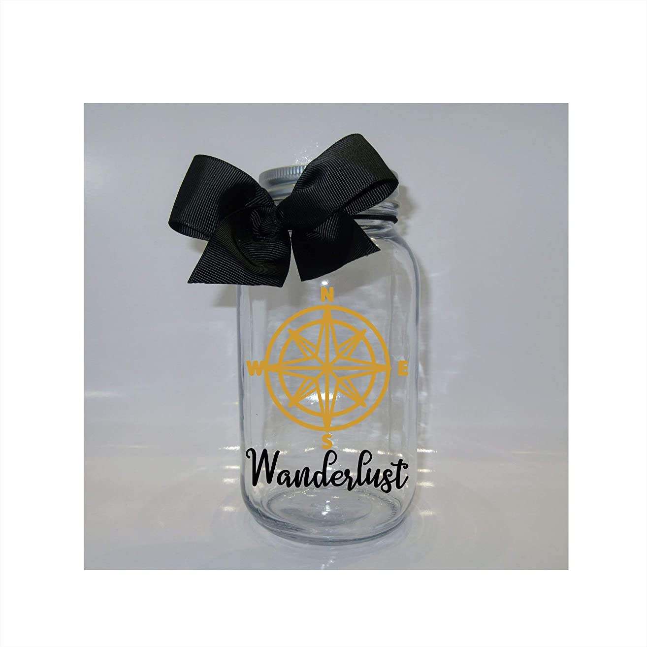 Wanderlust Fund Mason Jar Bank - Coin Slot Lid - Available in 3 Sizes