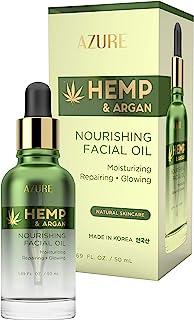 AZURE Hemp & Argan Nourishing Facial Oil - Moisturizing, Smoothing & Rejuvenating | Reduces Appearance Of Wrinkles, Fine Lines & Creases | Repairs Dehydrated Skin | Made in Korea - 50mL