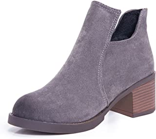 Gaorui Women's Cut Out Ankle Bootie Mid Chunky Stacked Block Wood Heel Western Pointed Toe Boots