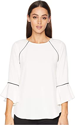 Crew Neck Blouse w/ Flare Sleeve and Piping
