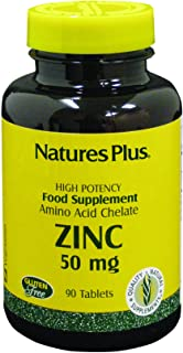 NaturesPlus Zinc Tablets - 50 mg, 90 Vegetarian Tablets - Immune System Supplement for Cellular Growth & Repair - Promotes...
