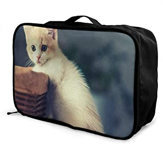 Lightweight Large Capacity Portable Luggage Bag Cat Funny Travel Waterproof Foldable Storage Carry Tote Bag