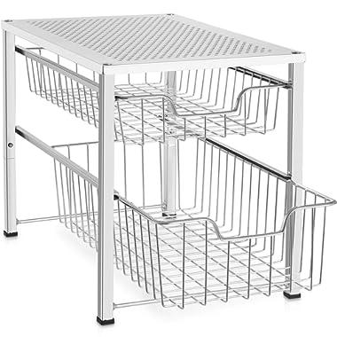Bextsware Under Sink Cabinet Organizer with 2 Tier Wire Grid Sliding Drawer, Multi-Function Stackable Mesh Storage Organizer for Kitchen Counter, Desktop, Bathroom(Chrome)