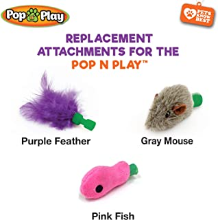 Allstar Innovations Use with The Pop N Play; 3 Replacement Cat Toy Attachments; Includes One Mouse, One Fish and One Feather. Pets Know Best'