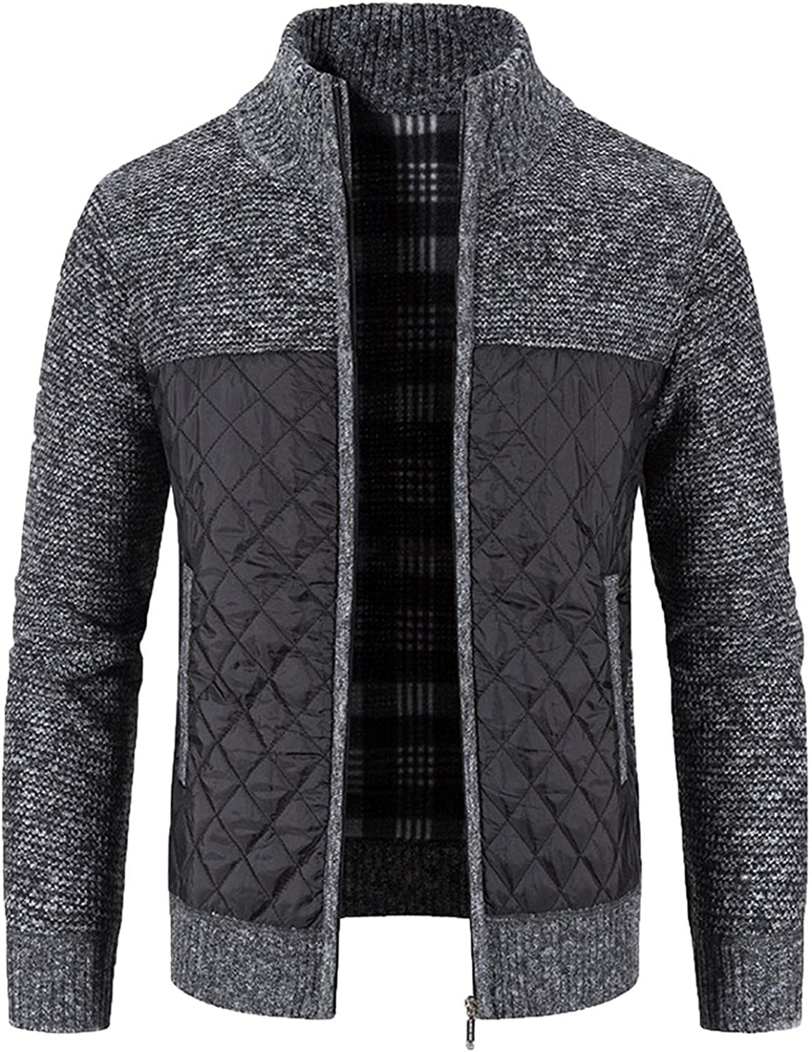 WUAI-Men Full Zip Cardigan Sweater Stand Collar Casual Slim Fit Cotton Ribbed Cable Knit Lightweight Warm Knitwear Jacket