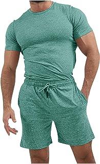 AIchenYW Men's 2 Piece Splicing Henley Shirts Shorts Sets, Classic Gradient Drawstring Lightweight Elastic Waist Bodycon R...