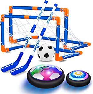 VEPOWER 2-in-1 Hover Hockey Soccer Ball Kids Toys Set, USB Rechargeable and Battery Hockey Floating Air Soccer with Led Light, Indoor Outdoor Games Sport Toys Kit for Kids Boys Girls Ages 3 4 5 6 7-12
