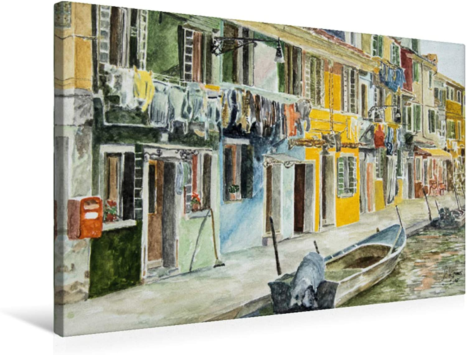 Burano Premium Textile Canvas 75 x 50 cm Landscape Colourful Houses