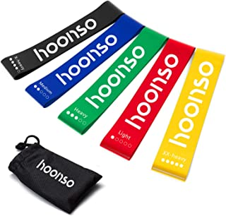 HOONSO Resistance Bands for Legs and Butt, Exercise Bands Loops 9 inch with Carry Bag, Set of 5