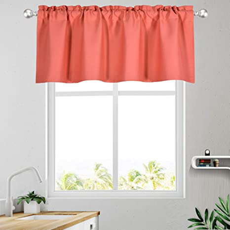 Amazon Com Keqiaosuocai Coral Valance 18 Inch Length Blackout Bedroom Valance Topper Curtains For Kitchen Bathroom Coral 1 Panel 52w X 18l Kitchen Dining