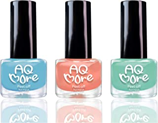 AQMORE Non Toxic Water Based Peel Off Nail Polish – Lasts for Days, GEL Like Shine, Dries in Minutes, Fragrance & Paraben Free, Kid Safe, Great Gift Idea - 3 Colors (0.20 fl oz/Bottle)(Fairy Gumdrop)