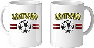Amdesco Latvian Soccer Latvia Football 11 Oz White Coffee Mug (2 Mugs)
