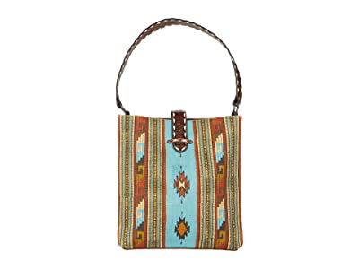 M&F Western Southwest Tote (Tan/Turquoise/Red) Handbags