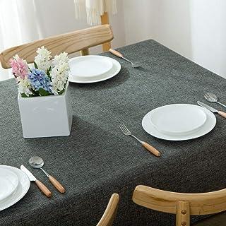 algodón y Lino Mantel de Color sólido Mantel de Mesa de café Mesa Rectangular Nuevo café Profundo 55 * 87 Pulgadas