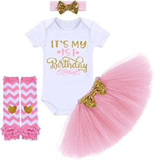 ODASDO It's My 1st / 2nd / Half Birthday Outfit Baby Toddler Kid Princess Tutu Skirt Cake Smash Set 4pcs Party Clothes