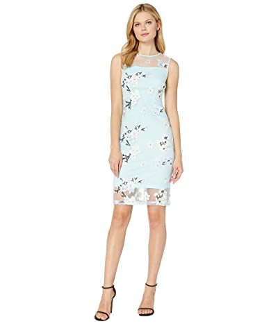 Calvin Klein Floral Print Lace Dress with Illusion (Seaspray Multi) Women