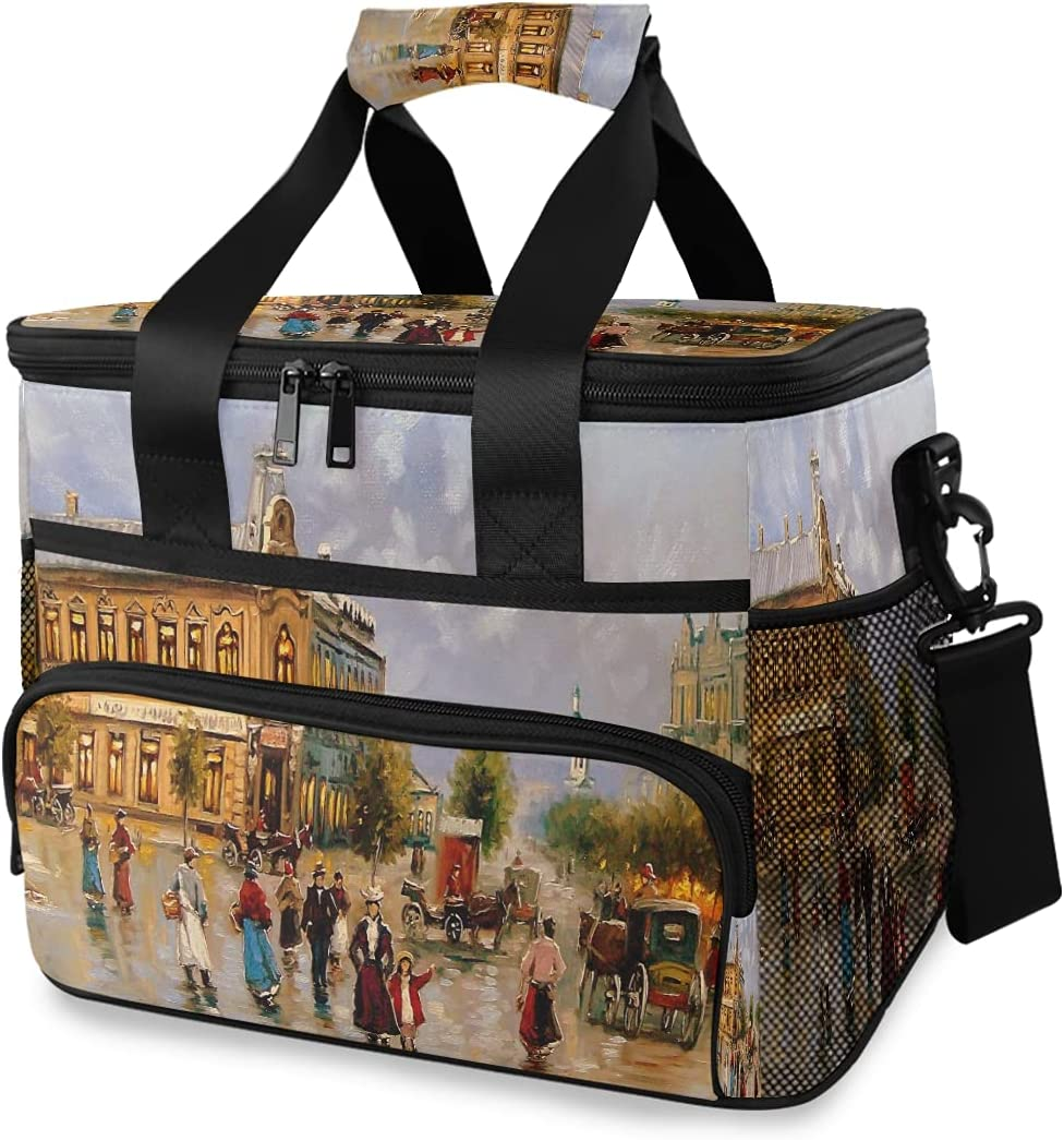 HMZXZ Large Lunch Bag Oil Paintings Castle 15L I 24-Can People Some reservation OFFer