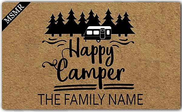 MsMr Custom Doormat Monogrammed Happy Camper With Family Name Non Slip Entrance Indoor Outdoor Welcome Door Mat 23 6 X15 7