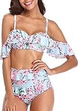 Tempt Me Women Two Piece Ruffled Swimsuit Floral Print Off-Shoulder Bikini Set