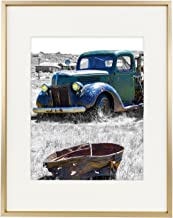Golden State Art,11x14 Classic Satin Aluminum Landscape Or Portrait Photo Frame with Ivory Color Mat for 8x10 Photo & Real Glass (Gold)
