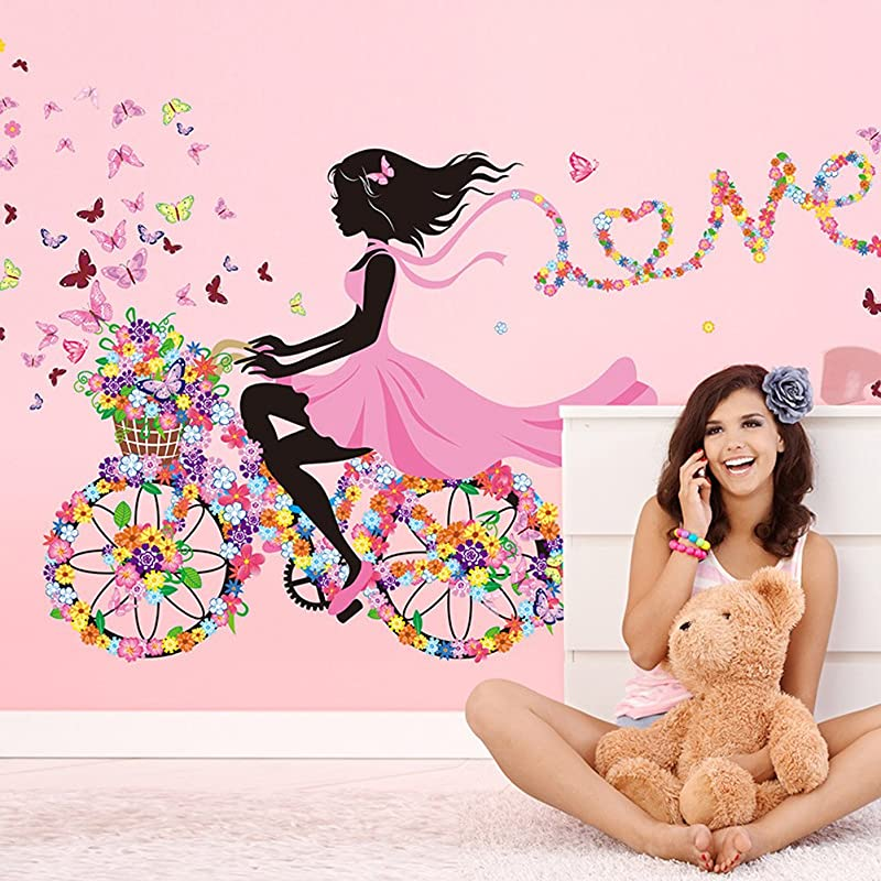 Wallpark Romantic Pink Flower Butterfly Fairy Girl Riding A Flower Bike Removable Wall Sticker Decal Children Kids Baby Home Room Nursery DIY Decorative Adhesive Art Wall Mural