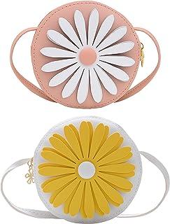 SOTOGO 2 Pieces Little Girls Crossbody Purses Toddler Mini Cute Flower Bags Princess Handbags Shoulder Messenger Bag