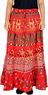 Jaipuri Print 36 Inch Length Women's Cotton Printed Regular Long Elasti Skirt for Women (E_E36NT-0007)