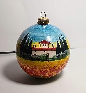 Paesaggio toscano-Palla di natale di ceramica fatta a mano,diametro cm 8.Made in Italy,Toscana,Lucca.Creato da Davide Pacini.