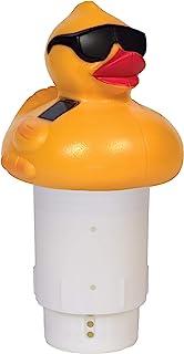 """GAME Solar Light-Up Derby Duck Pool Chlorinator; 3""""-Tablet Chlorine Dispenser; LED Lights; Light Sensor; Expandable Basket..."""
