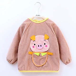 1-5 Years Old Children Waterproof Anti-smudge Long-sleeved Boys And Girls Anti-dressing Baby Bib With Sleeve For Infant To...