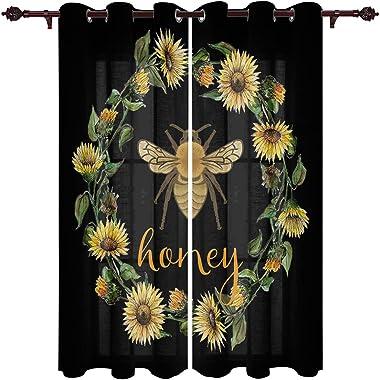Window Curtains Panels for Kitchen/Bedroom Sunflower Garland Honey Bee Design on Black Background Curtains Treatment Set 12 M