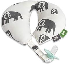 SIMPLY GOOD Baby-Nackenkissen für die Reise mit Schnullerhalterung - Autositz-Kopfstütze für Kleinkinder - Kinderwagen-Kopf- und Nackenstütze für 0-12 Monate Graue Elefanten auf Weiß