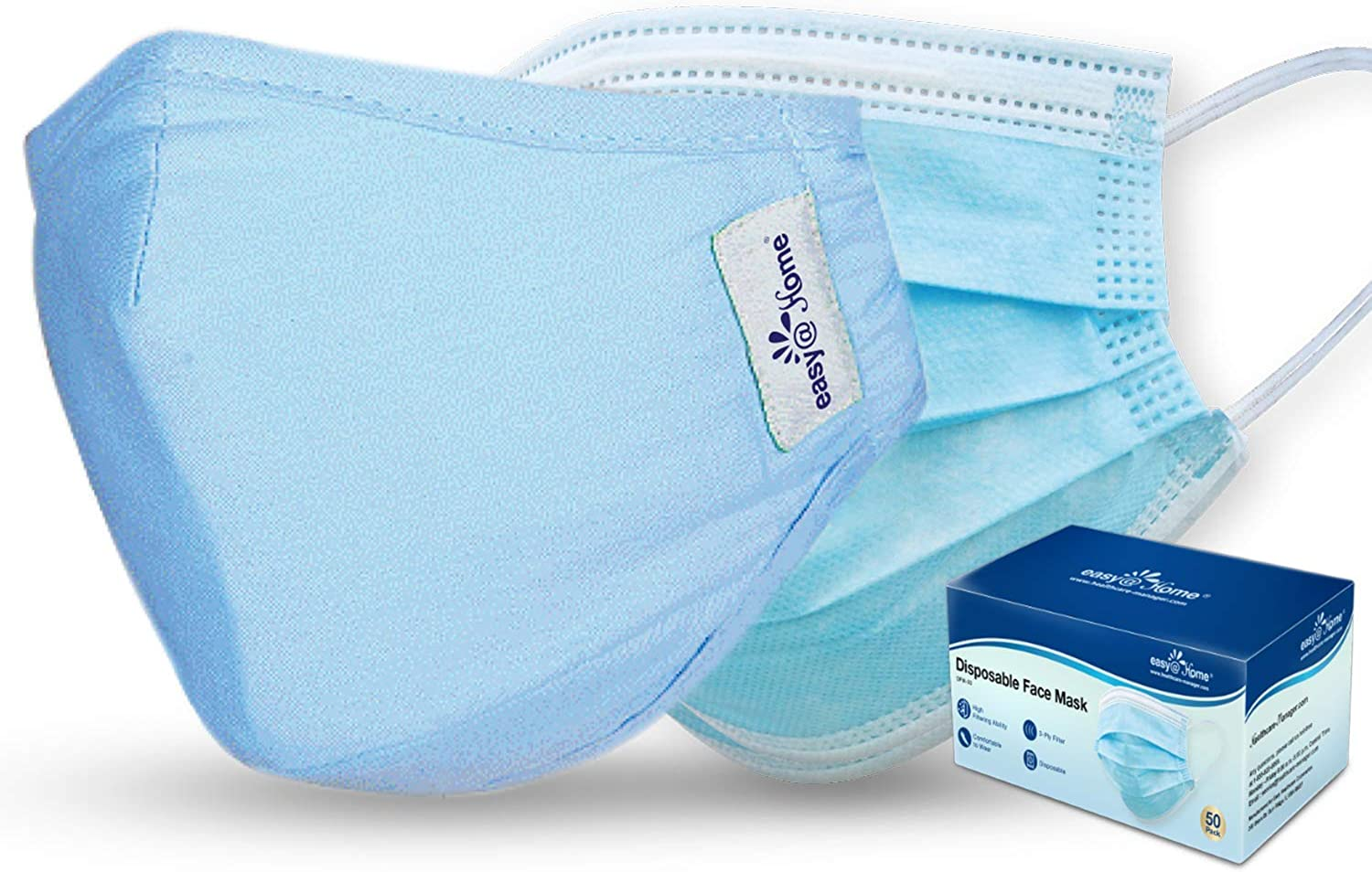 Easy@Home Washable and Reusable Cloth Mask with Filters and 50 Pack Disposable Face Masks