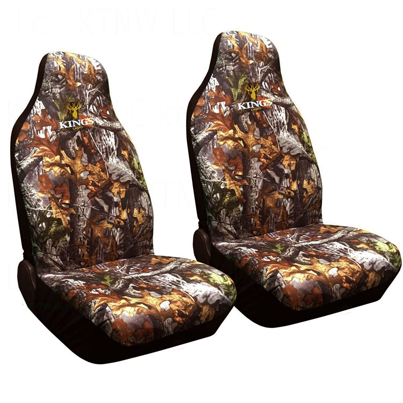 Two Officially Licensed Kings Camo Universal Fit Highback Seat Covers - Woodland Shadow