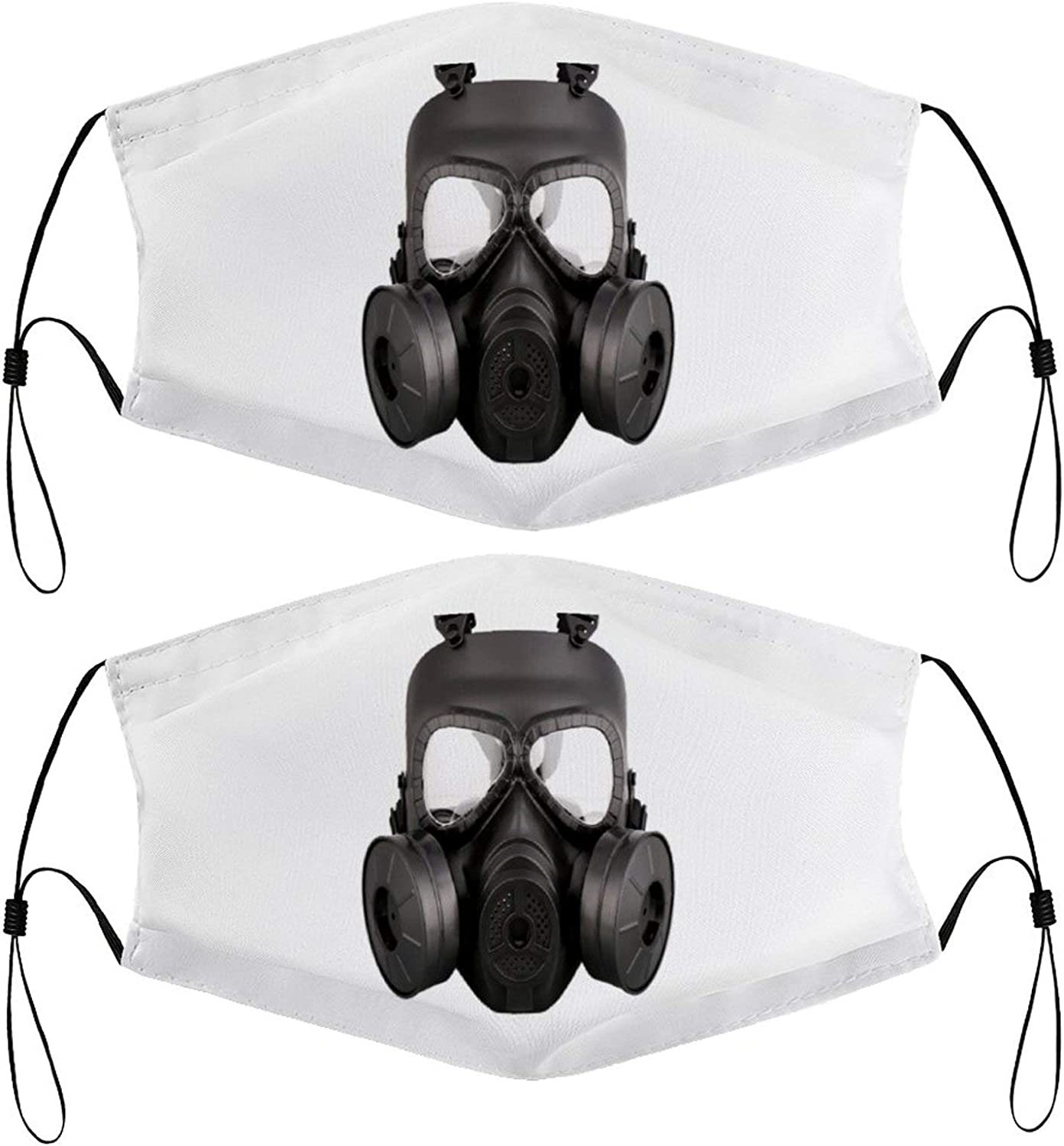 Costume Gas Mask Kids Face Masks Set of 2 with 4 Filters Washable Reusable Breathable Black Cloth Bandanas Scarf for Unisex Boys Girls