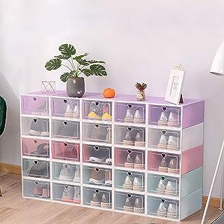 Kaibrite Lot de 20 boîtes de rangement pour chaussures - Boîtes empilables transparentes - Violet tendance - Stable et fac...