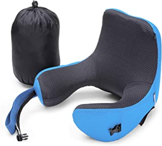 INLIFE Neck Support Travel Pillow, Memory Foam Neck & Head Support Pillow Soft Sleeping Rest Cushion Detachable Hood Adjustable Neck Size Airplane/Car/Train/Bus/Office