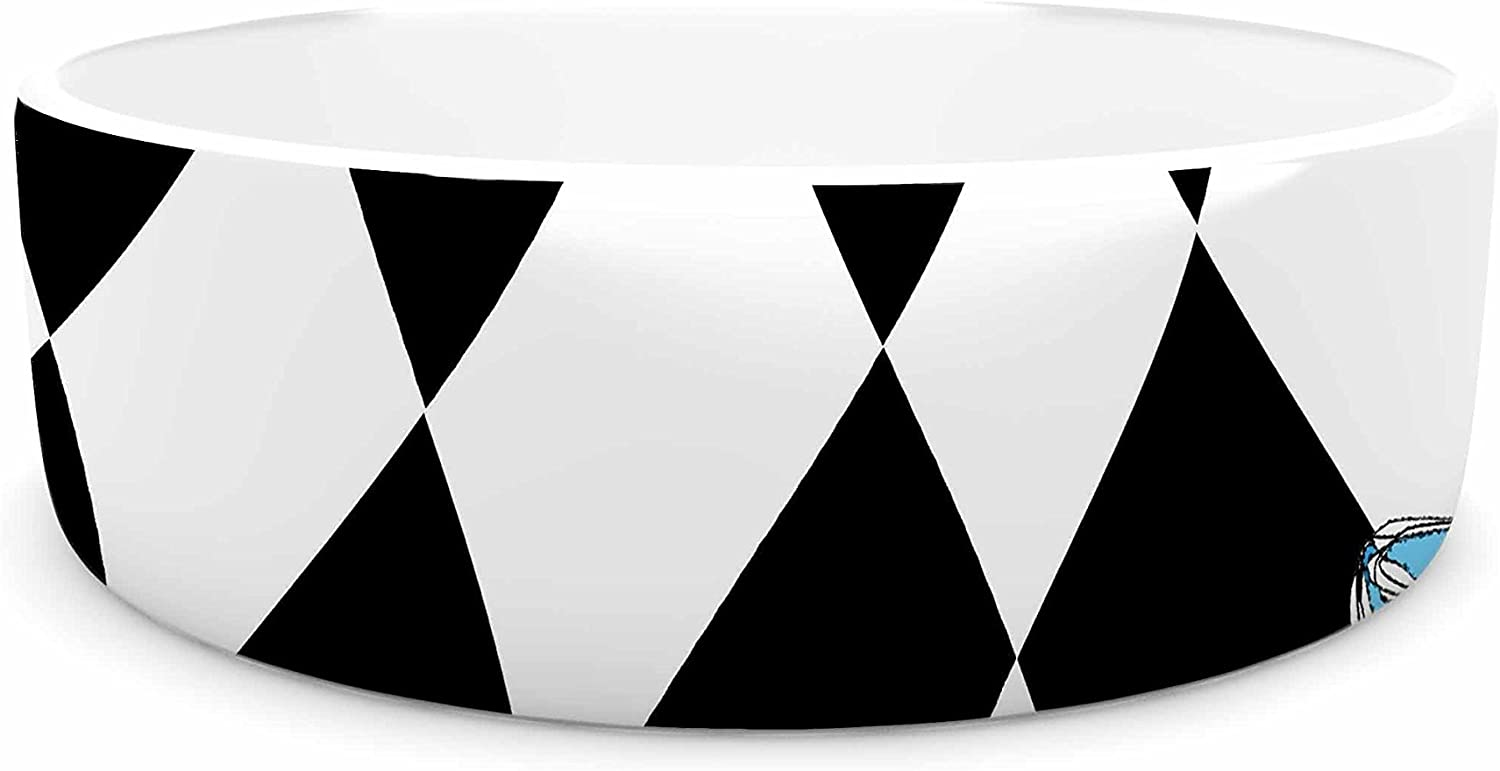 KESS InHouse Zara Martina Curious Alice  bluee Black Pet Bowl, 7