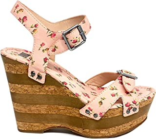 Anna Sui Womens Printed Leather Karlie Wedge