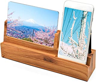 EAYHM スマホスタンド 卓上 for iPhone iPad 充電スタンド&フォトフレーム&ペン立て 3in1 革新品 木地色