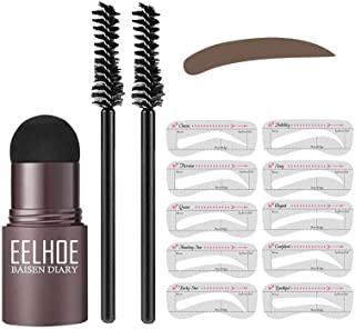 One Step Brow Stamp Kit Professional Eyebrow Stamp Shaping Makeup Set With 10 Reusable Eyebrow Stencils Eyebrow Pen Brushes