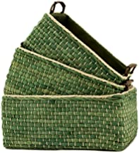 (Green Set of 3) - Kingwilow,Woven Maize Storage Baskets & Bins Set of 3. (Green,Rectangular)