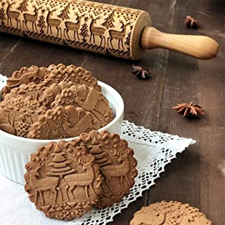 Rolling Pins with Patterns,Christmas Wooden 3D Rolling Pins,Embossing Natural Wood Carved Engraved Rolling Pin with Deer Tree Pattern for Cookies Crusts Pies Pastry Clay,Xmas New Year Creative Gift
