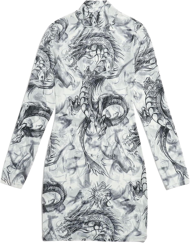 SOLY HUX Women's Dragon Print Mock Neck Long Sleeve Mesh Mini Bodycon Dress