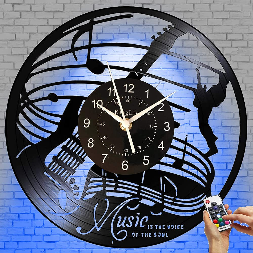 Guitar LED Vinyl CD Record Wall Clock Music Wall Art Home Decor for Bedroom Living Room Birthday Gift for Man and Women Music Fans 12 INCH (Muisc 2(LED))