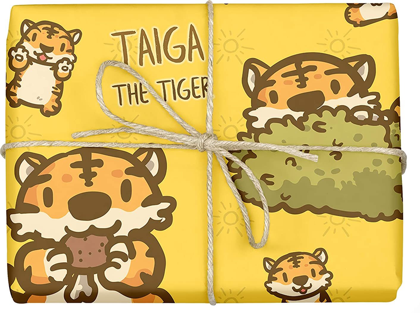 Taiga The Tiger - Design Gift Wrapping Paper | For Baby Showers, Kids Birthdays, Christmas Gifts | Unique Unisex Print | Wrap A Birthday Parcel & Present | 5 Sheets | 20 x 28 Inches